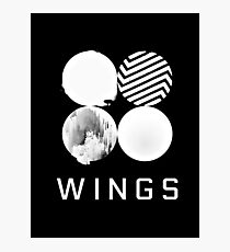 BTS Wings Logo (Black) Photographic Print