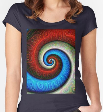 #DeepDream Color Fibonacci Visual Areas Fitted Scoop T-Shirt