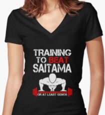 Training to Beat Saitama Women's Fitted V-Neck T-Shirt
