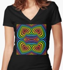 3d heart rainbow Women's Fitted V-Neck T-Shirt