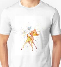 Bambi With Birds. Watercolor Art. Gift For Kids  Unisex T-Shirt