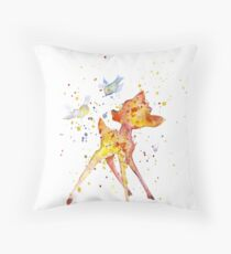 Bambi With Birds. Watercolor Art. Gift For Kids  Throw Pillow