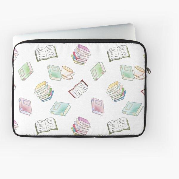 Book Nerd! Watercolor Pattern Illustration of Books & Tea Laptop Sleeve