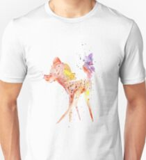Bambi With Butterfly, Watercolor Art, Gift For Kids, Unisex T-Shirt