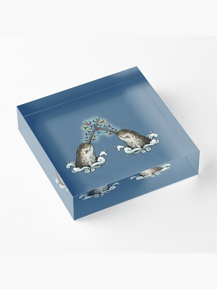 Alternate view of Christmas narwhal Acrylic Block