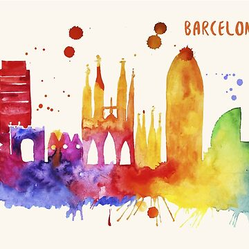 Barcelona Skyline Watercolor Cityscape Painting by beautifymywalls