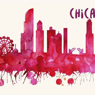 Chicago Skyline Watercolor Cityscape Painting by beautifymywalls