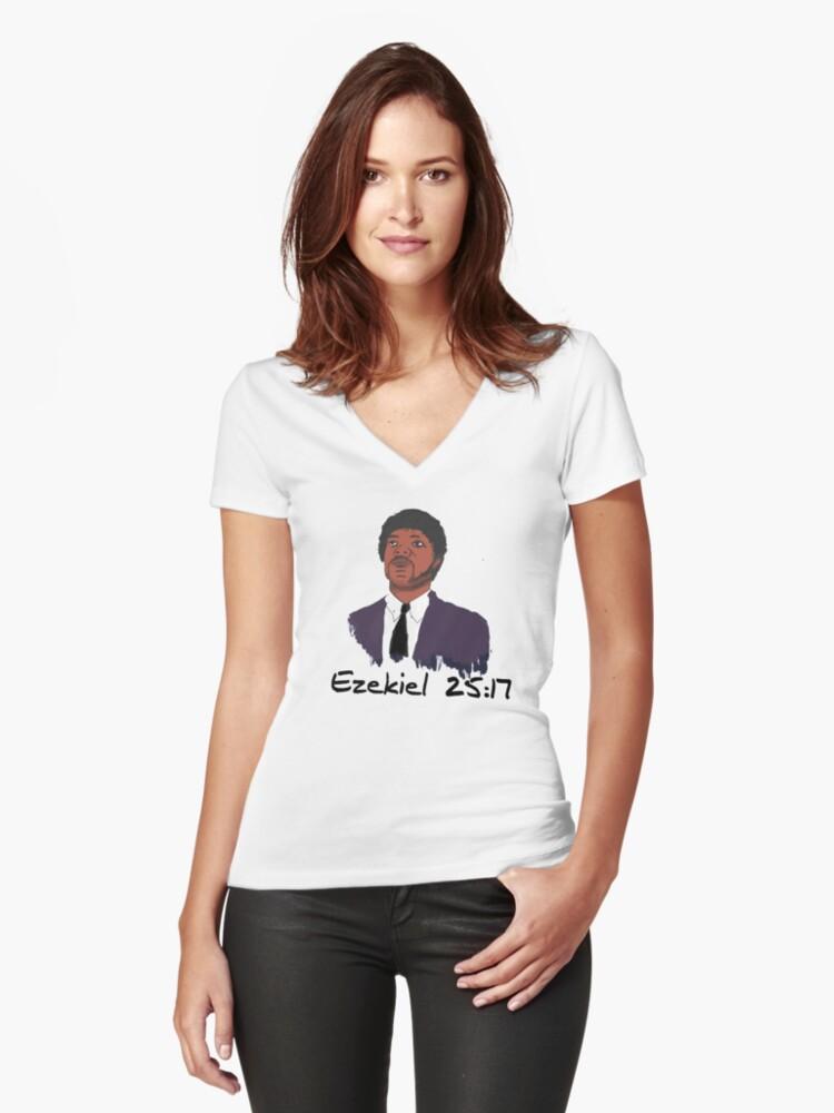 Ezekiel 25:17 Women's Fitted V-Neck T-Shirt Front