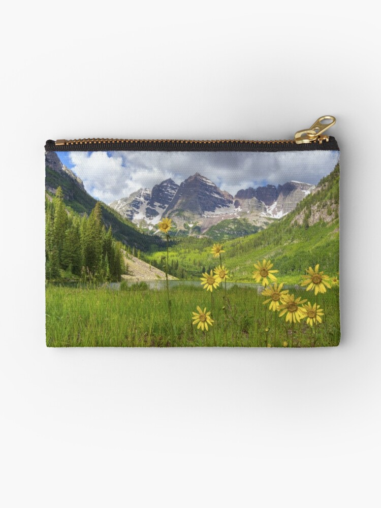 'Maroon Bells Images - Sunflowers at Maroon Lake on a July Morning' Zipper  Pouch by RobGreebonPhoto