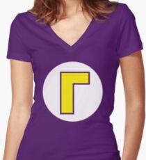 Waluigi Emblem Women's Fitted V-Neck T-Shirt