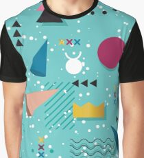 80s Memphis Pattern Teal Graphic T-Shirt