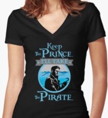 Keep The Prince, I'll Take The Pirate. Women's Fitted V-Neck T-Shirt