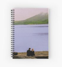 Conversation on the log - oil color painting Spiral Notebook