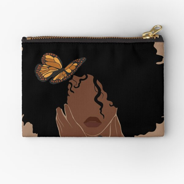 Black woman afro among butterfly and flower Zipper Pouch