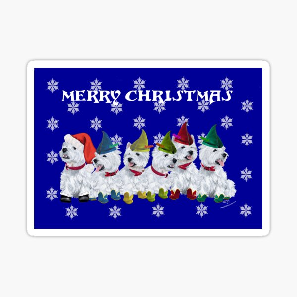 Westie Santa and Elves Sticker