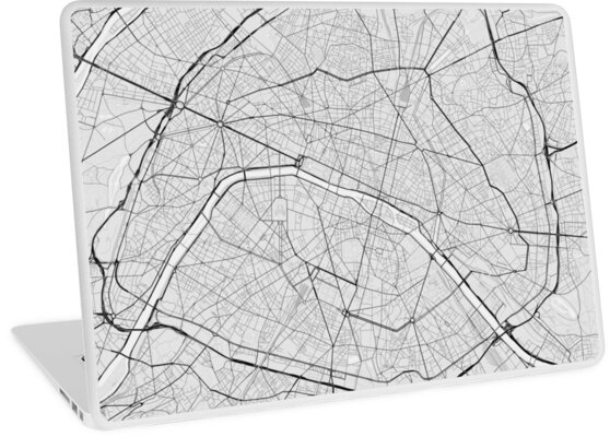 Paris Map Black And White.Paris France Map Black On White Laptop Skins By Graphical Maps