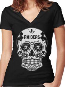 Dia De Los Raider Shirt Women's Fitted V-Neck T-Shirt