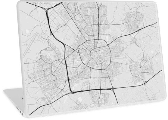 Eindhoven, Netherlands Map. (Black on white)\