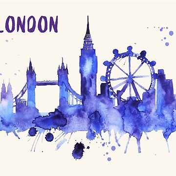 London Skyline Watercolor Cityscape Painting by beautifymywalls