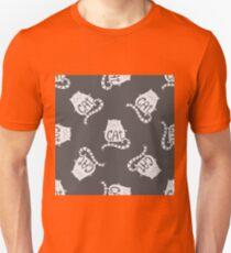 Cute fat cat seamless pattern, funny hand drawn  T-Shirt