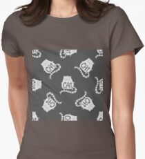 Cute fat cat seamless pattern, funny hand drawn  Womens Fitted T-Shirt