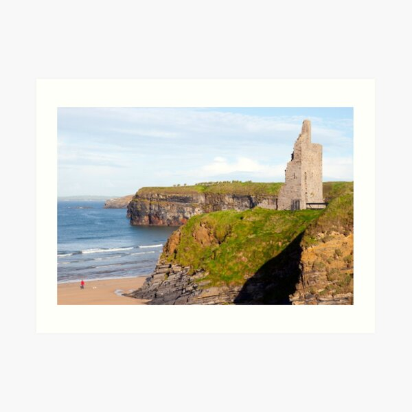 castle beach and cliffs in Ballybunion  Art Print