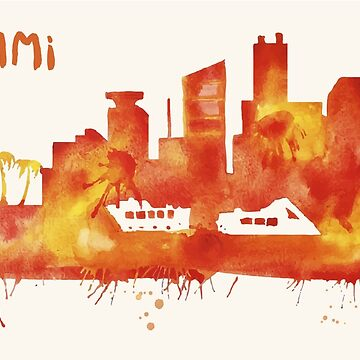 Miami Skyline Watercolor Cityscape Painting by beautifymywalls