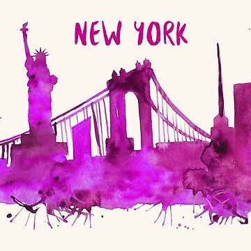 New York City Skyline Watercolor by beautifymywalls