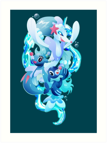 Popplio Brionne And Primarina Art Prints By Ilona Iske Redbubble