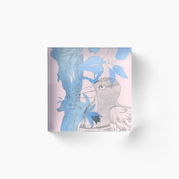 Bird in blue and pink Acrylic Block