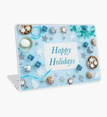Blue Christmas decoration on wood Laptop Skin