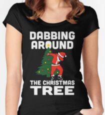 Dabbing Around The Christmas Tree Women's Fitted Scoop T-Shirt