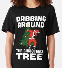 Dabbing Around The Christmas Tree Slim Fit T-Shirt