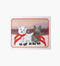 Westie and Scottie Wintertime Art Board