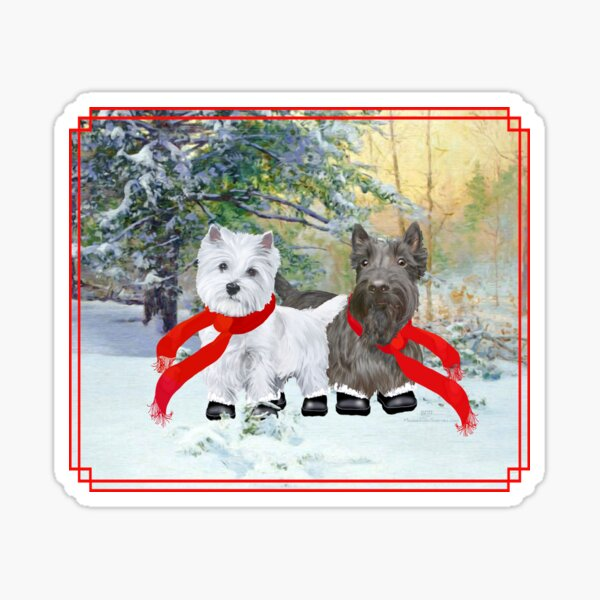 Westie and Scottie Wintertime Sticker
