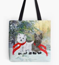 Westie and Scottie Wintertime Tote Bag
