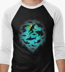 Screwed   Funny Shark and Diver Illustration Men's Baseball ¾ T-Shirt