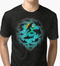 Screwed | Funny Shark and Diver Illustration Tri-blend T-Shirt