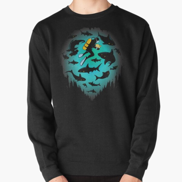 SCUBA DIVING UNDERWATER DIVER FISHING OCEAN SEA Mens Black Sweatshirt