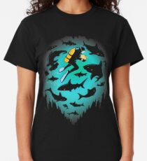 Geschraubt   Lustiger Haifisch und Taucher Illustration Classic T-Shirt