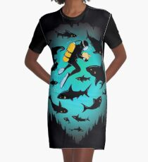 Screwed | Funny Shark and Diver Illustration Graphic T-Shirt Dress