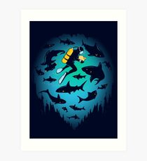 Screwed | Funny Shark and Diver Illustration Art Print