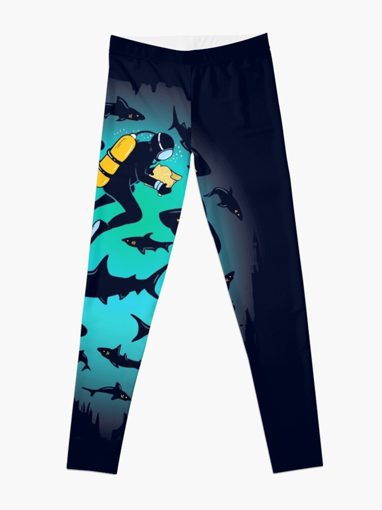 Alternate view of Screwed | Funny Shark and Diver Illustration Leggings
