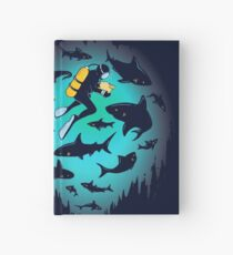 Screwed | Funny Shark and Diver Illustration Hardcover Journal
