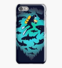 Screwed | Funny Shark and Diver Illustration iPhone Case/Skin