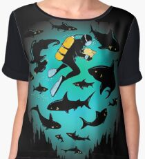 Screwed | Funny Shark and Diver Illustration Chiffon Top