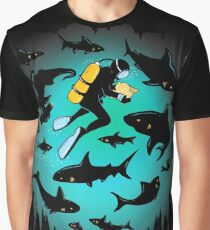 Screwed | Funny Shark and Diver Illustration Graphic T-Shirt