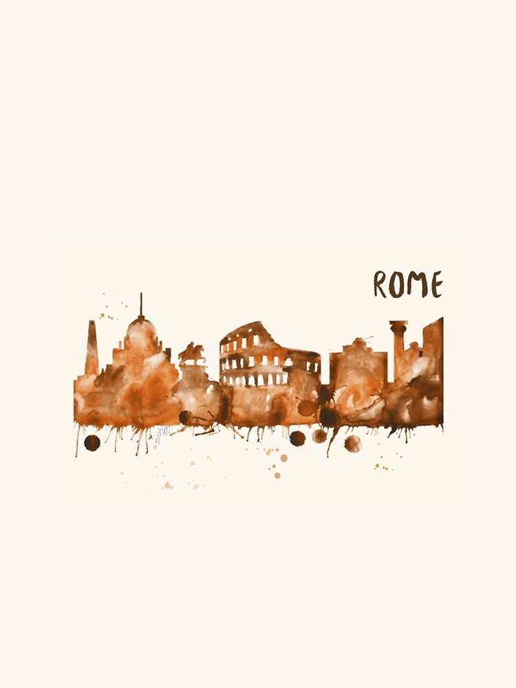 Rome Skyline Watercolor Cityscape Painting by beautifymywalls