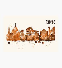 Rome Skyline Watercolor Cityscape Painting Photographic Print