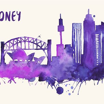 Sydney Skyline Watercolor Cityscape Painting by beautifymywalls